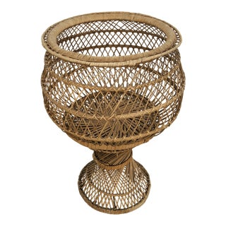 Vintage 1970's Natural Woven Wicker Rattan Boho Planter For Sale