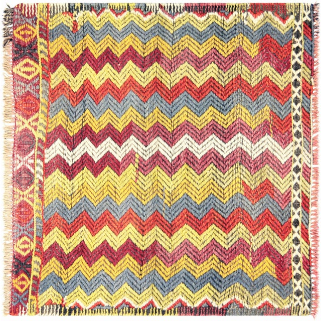 "Nalbandian - 1960s Turkish Geometrical Kilim - 2'8"" X 2'6"" For Sale - Image 4 of 4"