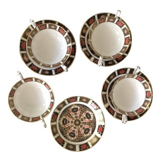 Vintage Imari Soup Cups and Underplate Saucers by Royal Crown Derby - Set of 8 For Sale