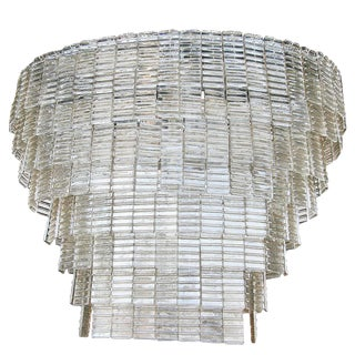 Large Oval Smoked Murano Chandelier For Sale