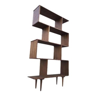 MID CENTURY ABSTRACT BOOKCASE WALL UNIT For Sale