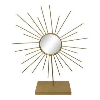 Vintage Gold Metal Starburst Vanity Mirror