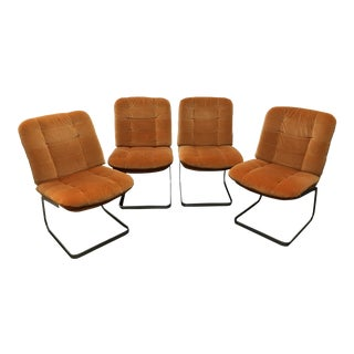 1970s Vintage Roche-Bobois Cantilevered Chairs- Set of 4 For Sale