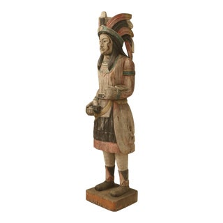 Cigar Store American Indian Hand-Carved in Original Paint For Sale
