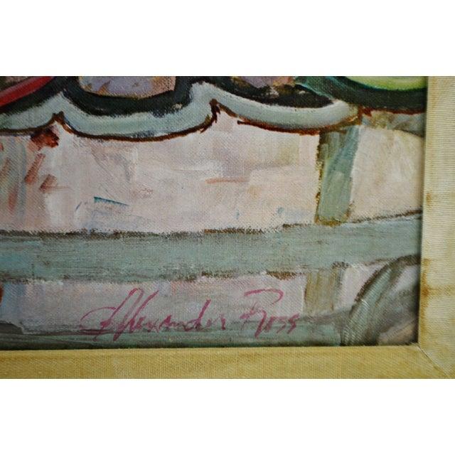 "Wood Vintage Framed Alexander Sharpe Ross Print of Watercolor Titled ""Blue Ribbon"" - Rare For Sale - Image 7 of 11"