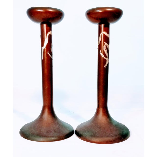 Bronze pair of Heintz Candlesticks with sterling overlay in sea grass design. Stamp 3107 Sterling on Bronze.Pat App Aug...