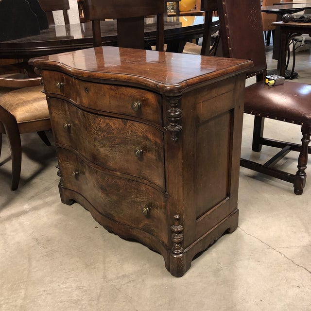 Design Plus Gallery presents a vintage dresser. Crafted with solid woods by skilled craftsman. Three pullout drawers with...