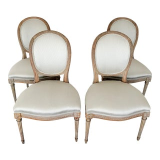 19th Century Antique Louis XVI Medallion Chairs- Set of 4 For Sale