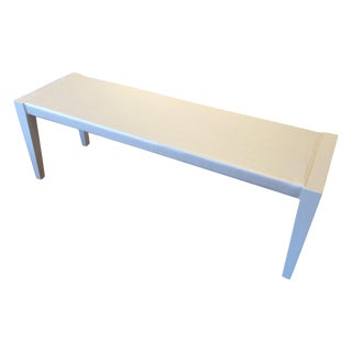 Mid-Century Bench in Off-White Lacquer and Special Satin Upholstery For Sale