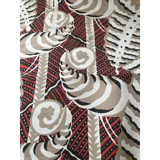 "Quadrille ""Ferns"" Linen Cinnabar Brown Fabric For Sale"