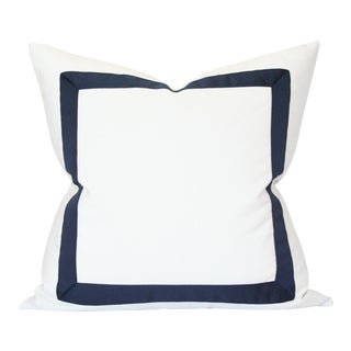 Solid White With Navy Ribbon Border Pillow Cover