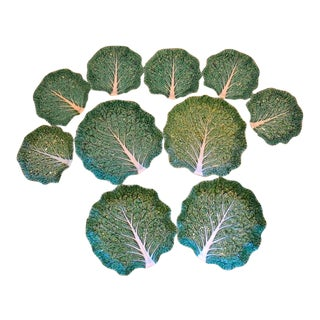 Bordallo Pinheiro Portuguese Majolica Green Cabbage Plates, Set of Ten For Sale