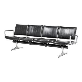 Chromcraft Black 4-Seat Original Vinyl Airport Bench For Sale