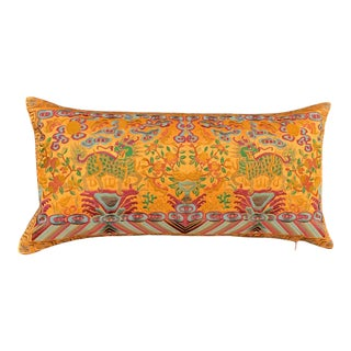 Hollywood Regency Gold & Turquoise Silk Embroidered Foo Dogs Chinoiserie Boudoir Pillow For Sale