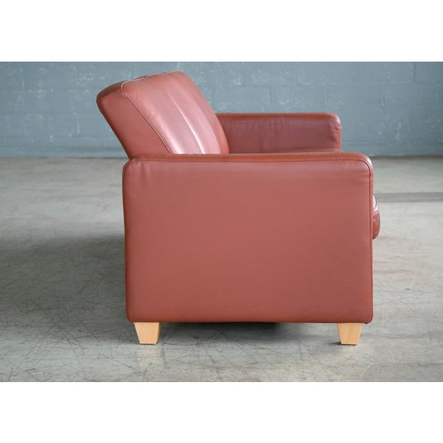 Mid-Century Modern Danish Mid Century Modern Sofa in Brown Leather For Sale - Image 3 of 9