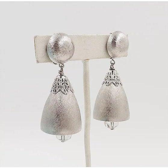 Napier 1970s Napier Silvertone Bell Earrings For Sale - Image 4 of 6