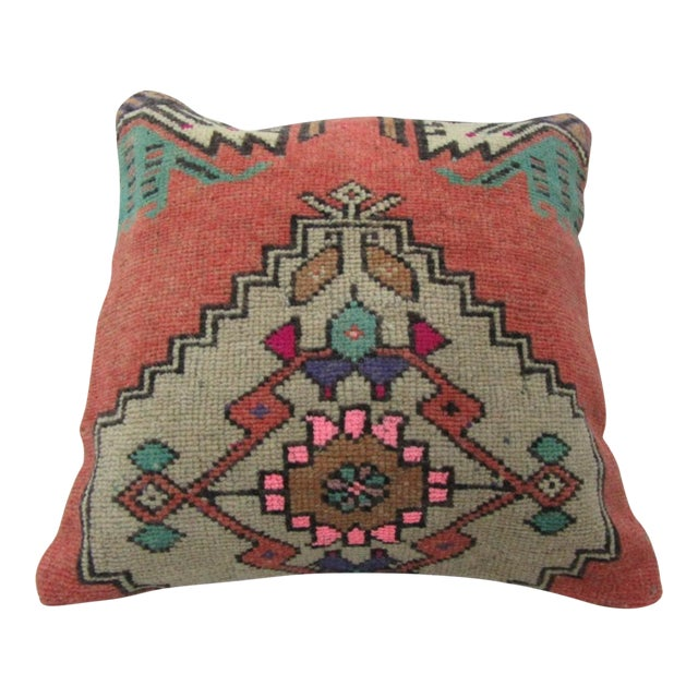 Vintage Handmade Decorative White and Pink Turkish Pillow Cover For Sale