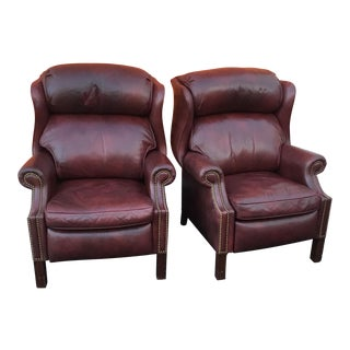 1960s Hancock & Moore Leather Recliner Chairs - a Pair For Sale
