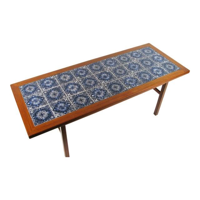 Danish Modern Teak Coffee Table With Royal Copenhagen Tile Inserts For Sale