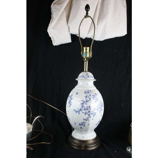 Blue Vintage Chinese Floral Lamp For Sale - Image 8 of 11