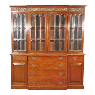 Feldenkrais of Philadelphia Federal Style Solid Mahogany Breakfront Bookcase For Sale