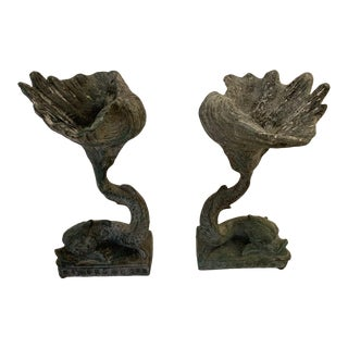 Lead Dolphin Motife Compotes -A Pair For Sale