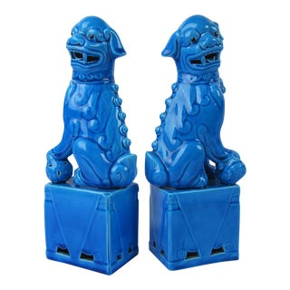 1970s Blue Foo Dog Statues - A Pair