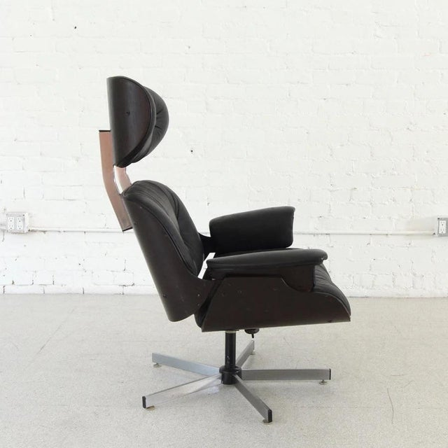 1960s Vintage Black Leather Plycraft Lounge Chair For Sale - Image 5 of 8