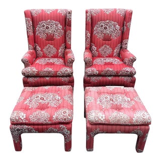 Pair of Petite Wing Back Chairs With Matching Ottomans For Sale