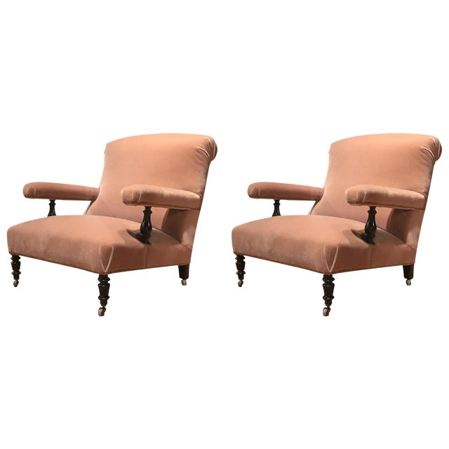 19th Century French Mohair Upholstery Armchairs- a Pair For Sale