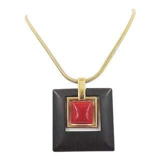1970s Trifari Modernist Lucite Pendant Necklace For Sale