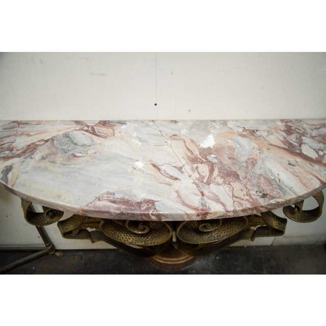 Italian Mid-Century Italian Marble and Brass Demi-Lune Console Table For Sale - Image 3 of 13