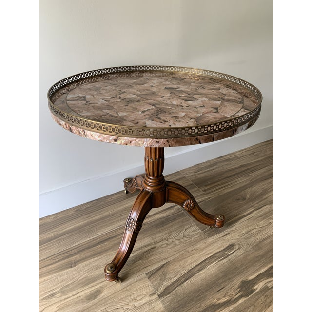 Maitland Smith Abalone Center Gallery Rail Occasional Table For Sale - Image 13 of 13