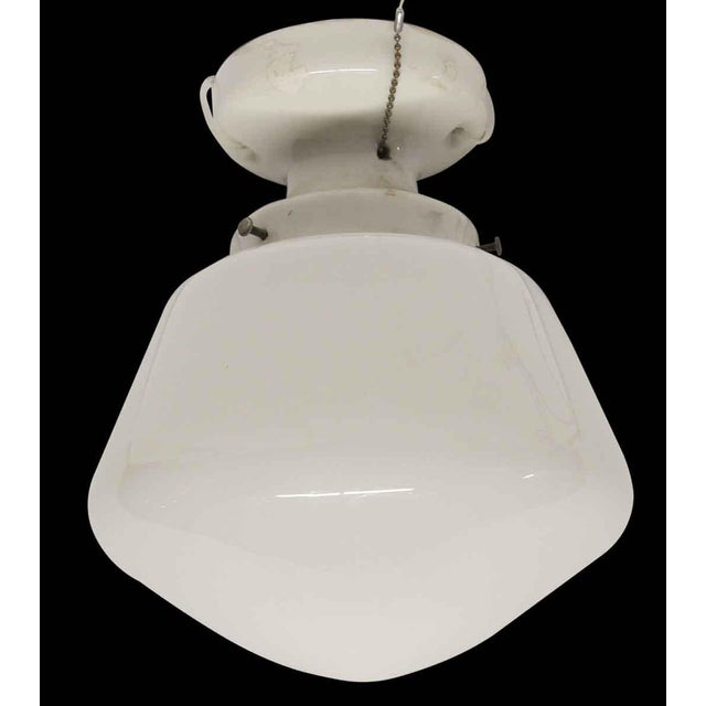 Simple School House Milk Glass Globe With Porcelain Fitter For Sale - Image 6 of 6
