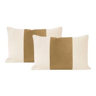 """12"""" X 18"""" Camel Italian Velvet Panel & Linen Lumbar Pillows - a Pair For Sale"""