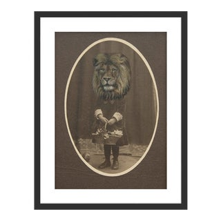 Lion by Anja Wuelfing in Black Frame, Small Art Print For Sale