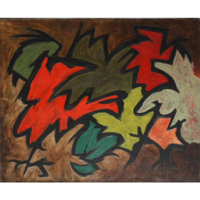 Laurent Marcel Salinas, Untitled - Abstract in Reds and Greens, Oil on Canvas For Sale
