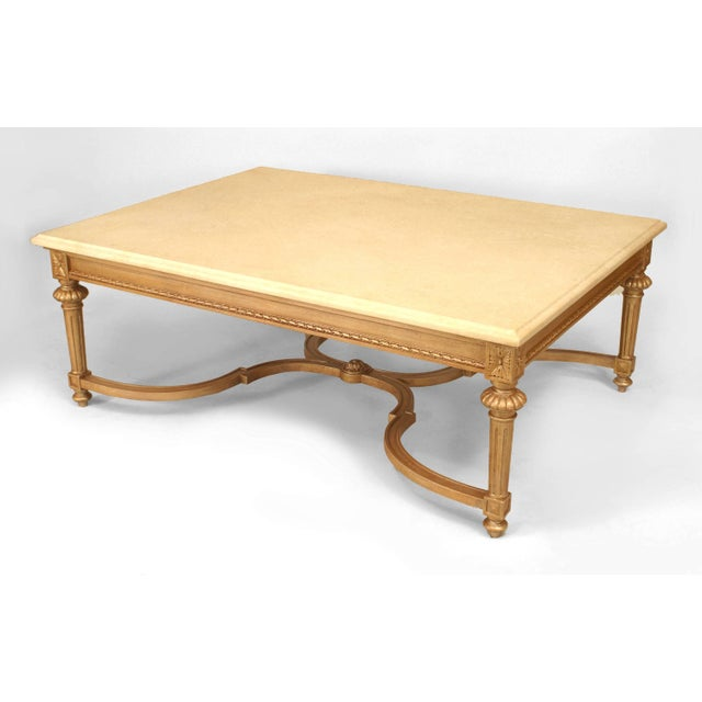Louis XVI Large 20th French Louis XVI Style Marble and Gilt Carved Coffee Table For Sale - Image 3 of 3