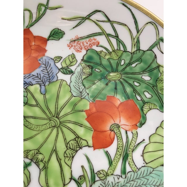 Metal Chinoiserie Floral Hand Painted Porcelain Brass Encased Bowl/Catchall - Made in Japan For Sale - Image 7 of 12