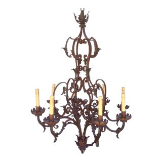 Antique Scrolling Iron Chandelier For Sale