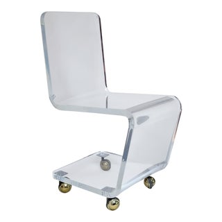 Lucite Desk Chair With Casters