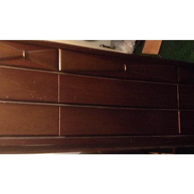 Bassett Mid Century Modern -All 3 Pieces-Triple Dresser W Mirror and Chest on Chest in Bow Tie Style - Image 8 of 9