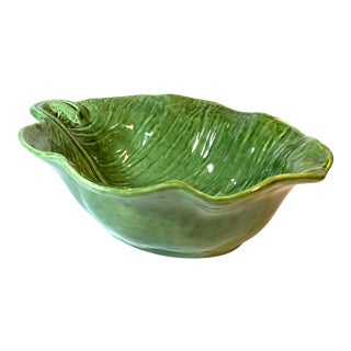 Large & Deep Olfaire Portugal Oval Green Cabbage Leaf Serving Bowl For Sale
