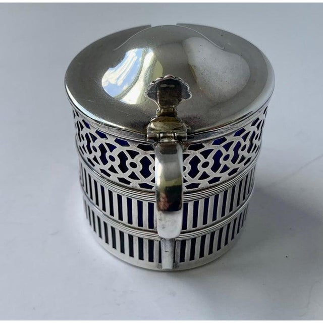 American Sterling Silver Mustard Pot With a Cobalt Blue Glass Liner For Sale - Image 3 of 9