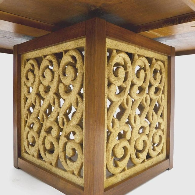 Hard to find coffee table made by Widdicomb. Decorative walnut top with a filigree resin base. Stunning yet practical...