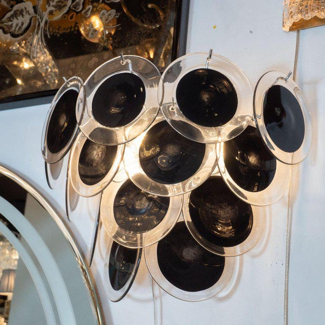 Modernist 14-Disc Sconces in Handblown Murano Black & Translucent Glass - a Pair For Sale - Image 4 of 6