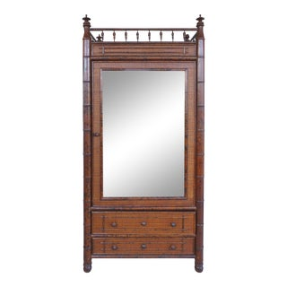 Faux English Bamboo, Mirror and Caned Cabinet Made for Bloomingdale's For Sale