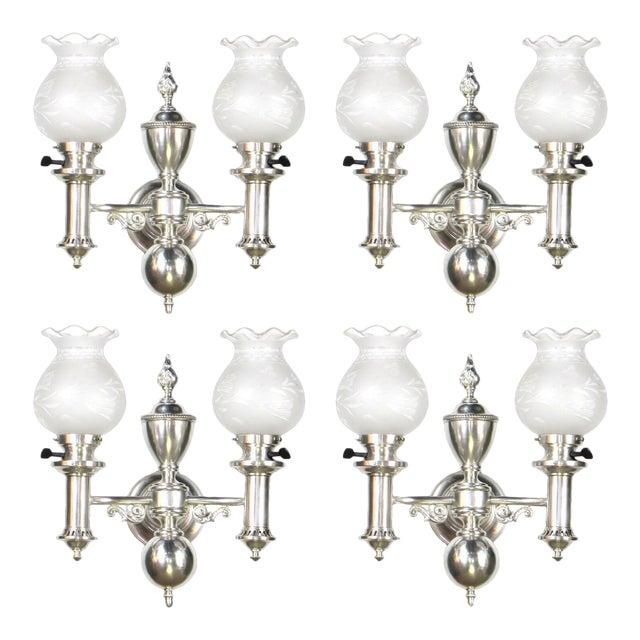 Set of 4 Silver Argand Sconces For Sale