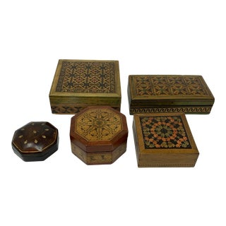 Vintage Assorted Leather and Wood Boxes - Set of 5 For Sale