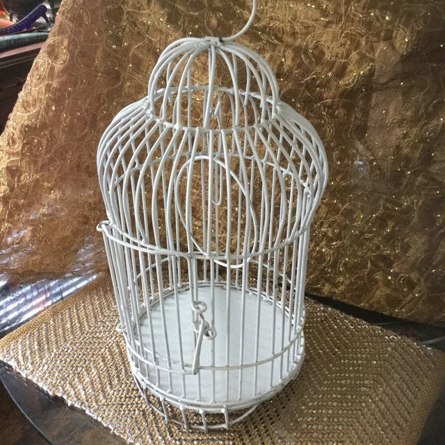 Cottage Mid-Century White Bird Cage For Sale - Image 3 of 8